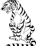 tigre rugit dans la savanne