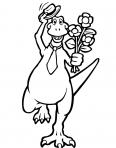 tyrannosaure avec des fleurs