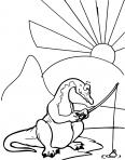 tyrannosaure rex en train de pécher